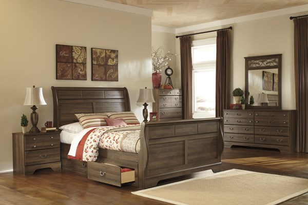 Allymore Brownish Gray Wood Queen Sleigh Footboard B216-63