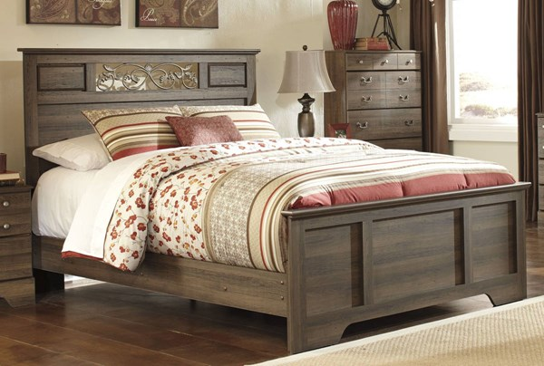 Allymore Brownish Gray Wood Queen Panel Bed B216-51-QPB