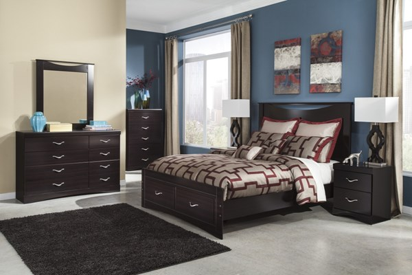 Zanbury Contemporary Merlot Wood 2pc Bedroom Sets B217-BR-S