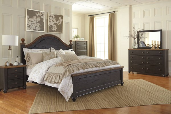 Maxington Casual Two Tone Wood 2pc Bedrooms Set W/Poster Bed B220-BR-S-VAR2