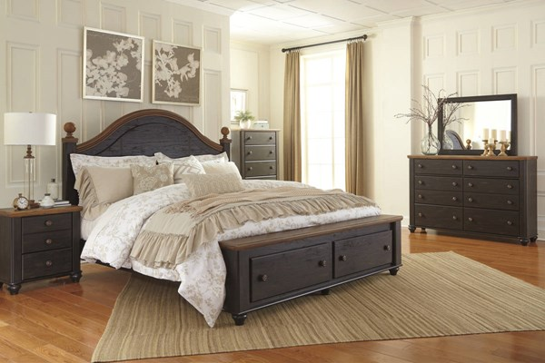 Maxington Casual Two Tone Wood 2pc Bedroom Set W/King Storage Bed B220-BR-S6