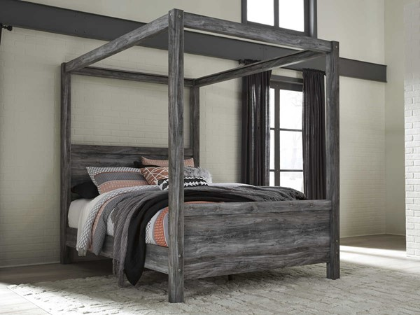 Ashley Furniture Baystorm Gray Queen Canopy Poster Bed