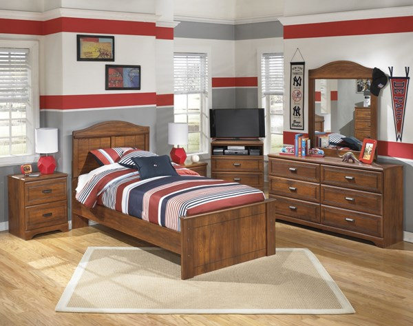 Barchan Medium Brown Wood Glass 2pc Bedroom Set W/Twin Panel Bed B228-TPB-S