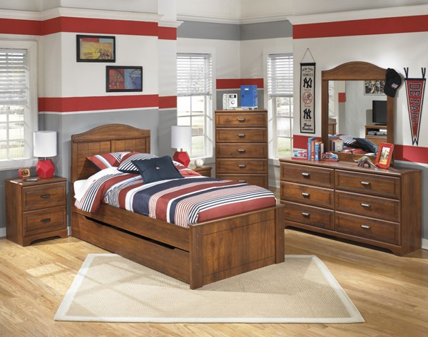Barchan Brown Wood 2pc Bedroom Set W/Twin Panel Trundle Storage Bed B228-TPTSB-S