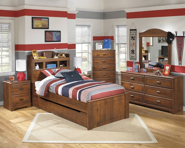 Barchan Casual Brown Wood 2pc Bedroom Set W/Twin Trundle Bookcase Bed B228-TBCBT-S