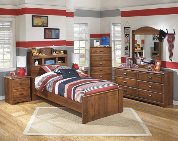 Barchan Casual Medium Brown Wood 2pc Bedroom Set W/Twin Bookcase Bed B228-TBCB-S