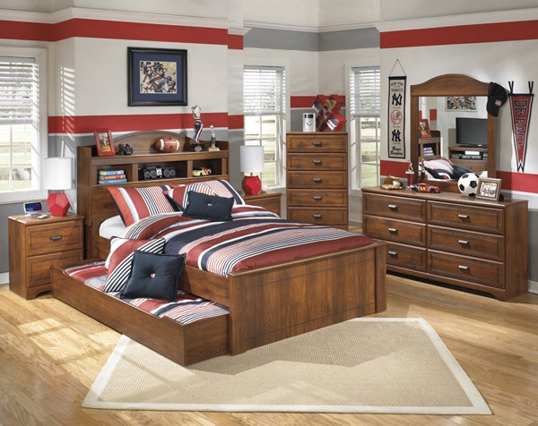 Barchan Casual Brown Wood 2pc Bedroom Set W/Full Trundle Bookcase Bed B228-FBCBT-S