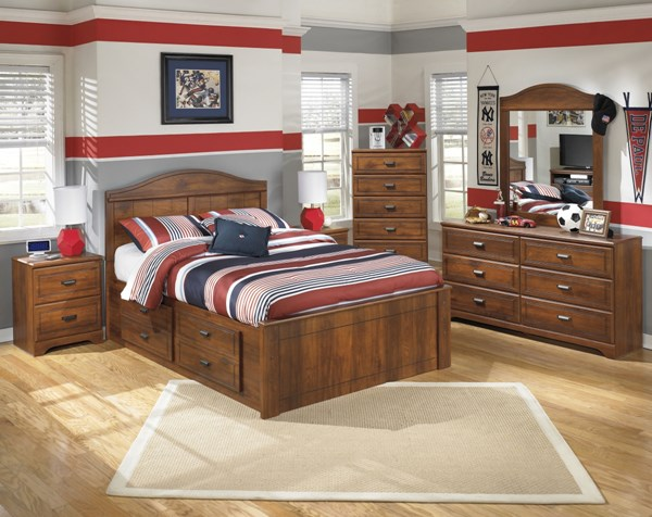 Barchan Brown Wood 2pc Bedroom Set W/Full Panel Under Storage Bed B228-FPUSB-S