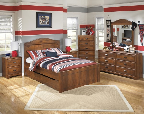 Barchan Brown Wood 2pc Bedroom Set W/Full Panel Trundle Storage Bed B228-FPTUSB-S