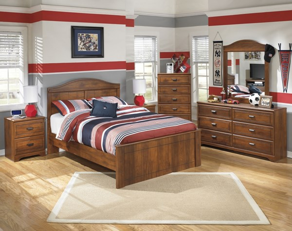 Barchan Medium Brown Wood Glass 2pc Bedroom Set W/Full Panel Bed B228-FPB-S