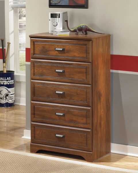 Barchan Medium Brown Wood Five Drawer Chest B228-46