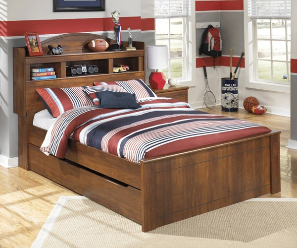 Barchan  Medium Brown Wood Full Trundle Bookcase Bed B228-FBCBT