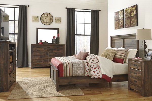 Quinden Vintage Casual Dark Brown Wood Master Bedroom Set B246-BR