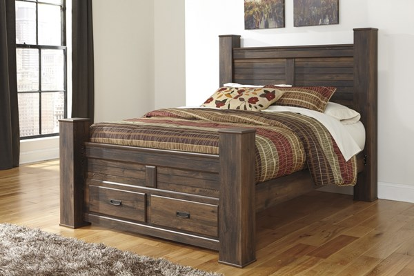 Quinden Vintage Casual Dark Brown Wood King Poster Storage Footboard B246-66S