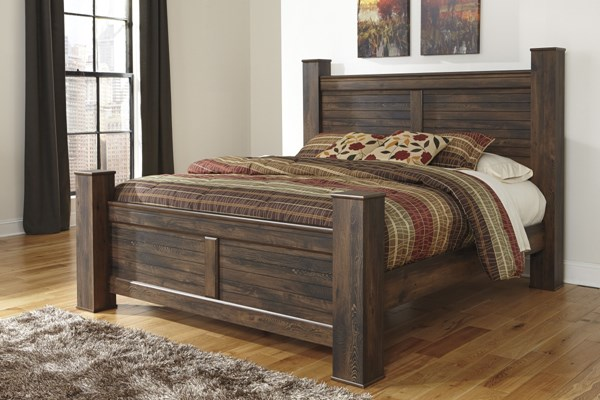 Quinden Vintage Casual Dark Brown Wood Queen Poster Bed B246-QPBED