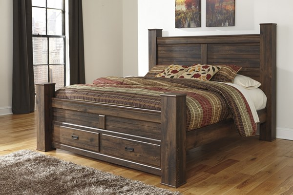 Quinden Vintage Casual Brown Wood Poster Footboard Storage Beds B246-KPOS-BED-VAR