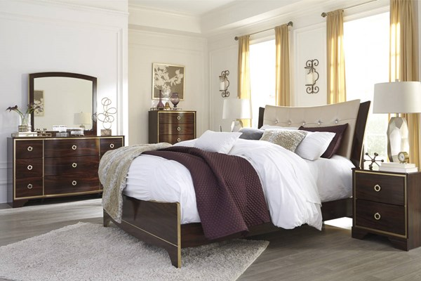 Lenmara Contemporary Reddish Brown PU Wood Master Bedroom Set B247-BR