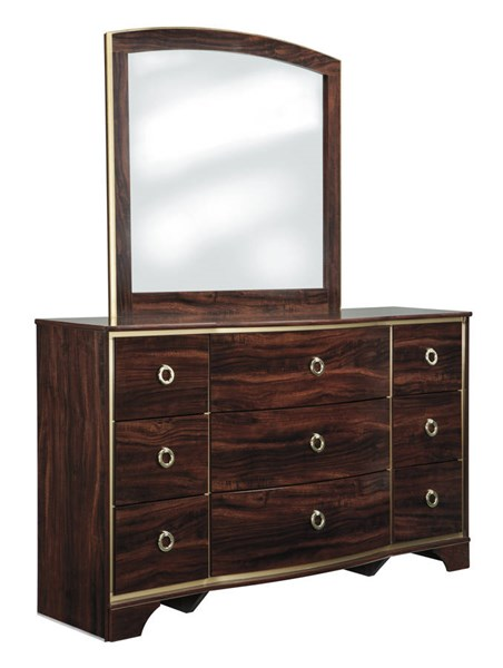 Lenmara Contemporary Reddish Brown Wood Glass Dresser And Mirror B247-DRMR