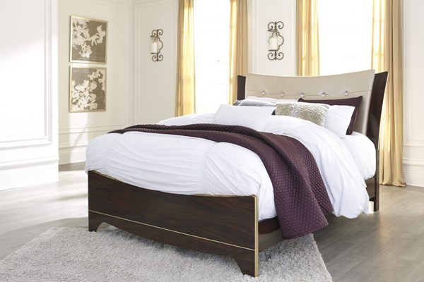 Lenmara Contemporary Reddish Brown PU Wood Queen Upholstered Panel Bed B247-QUPBED