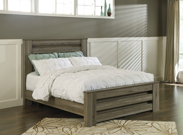 Zelen Warm Gray Wood Queen/Full Poster Headboard B248-67