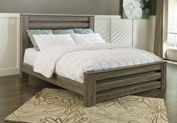 Zelen Casual Warm Gray Wood King Poster Bed B248-KB