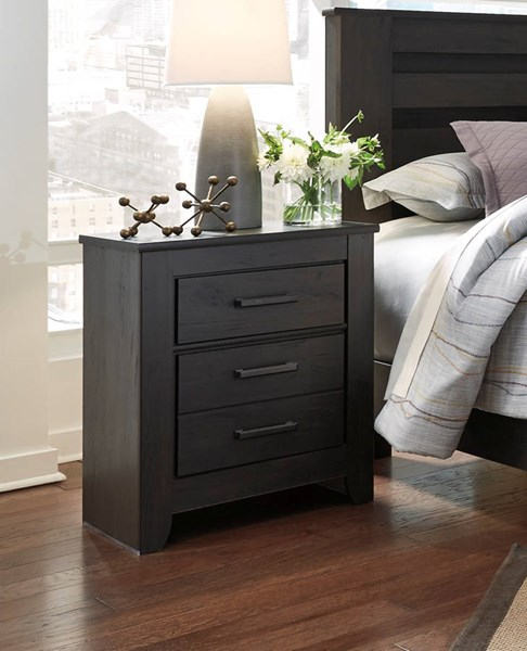 Brinxton Casual Black Wood Two Drawer Night Stand B249-92
