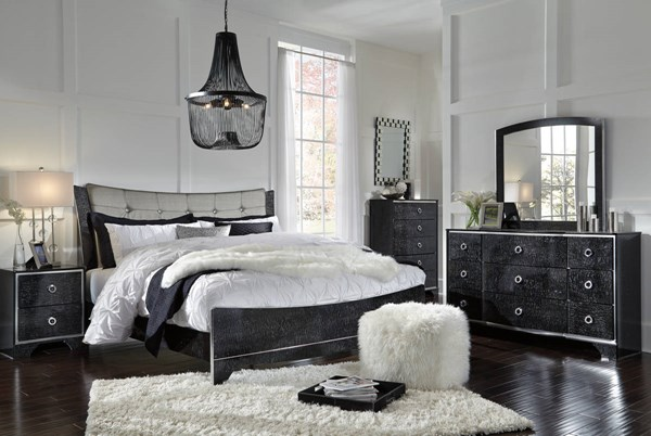 Amrothi Contemporary Black Wood Master Bedroom Set B257-BR