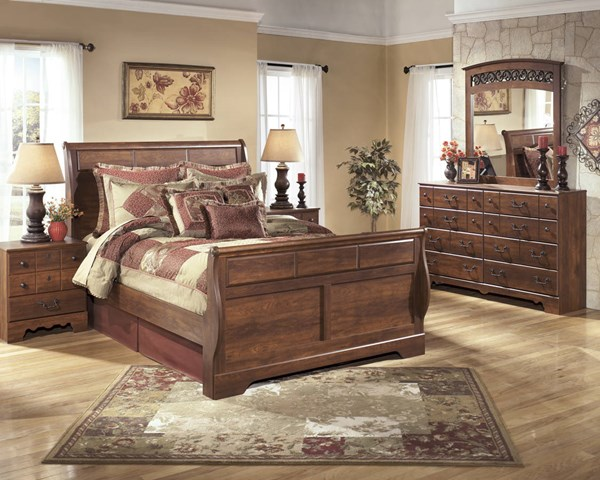 Timberline Traditional Brown Wood 2pc Bedroom Set W/Queen Sleigh Bed B258-Set3