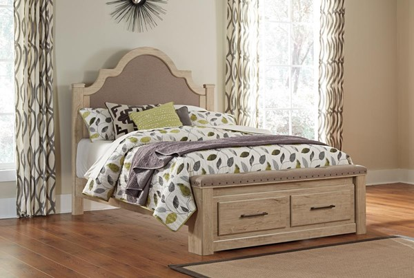 Annilynn Casual Light Brown Wood King Bed W/Storage Footboard B261-KUPH-BED