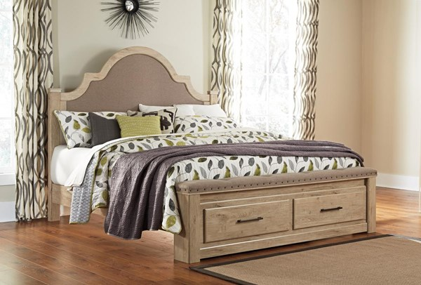 Annilynn Vintage Casual Light Brown King UPH Poster Headboard B261-168