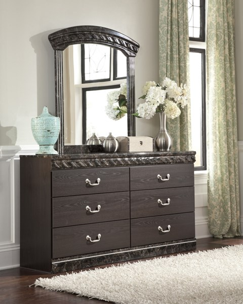 Vachel Dark Brown Wood Glass Bedroom Mirror B264-36