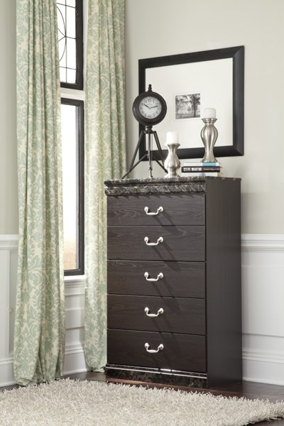Vachel Traditional Dark Brown Wood Faux Marble Drawer Chest B264-46