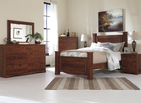 Brittberg Reddish Brown Wood Glass 2pc Bedroom Set W/King Poster Bed B265-BR-S3