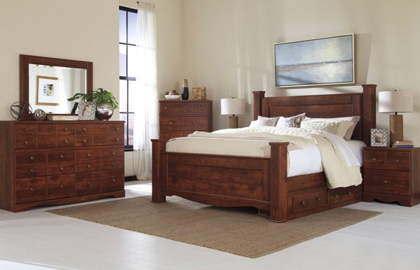 Brittberg Brown Wood Glass 2pc Bedroom Set W/King Storage Poster Bed B265-BR-S5