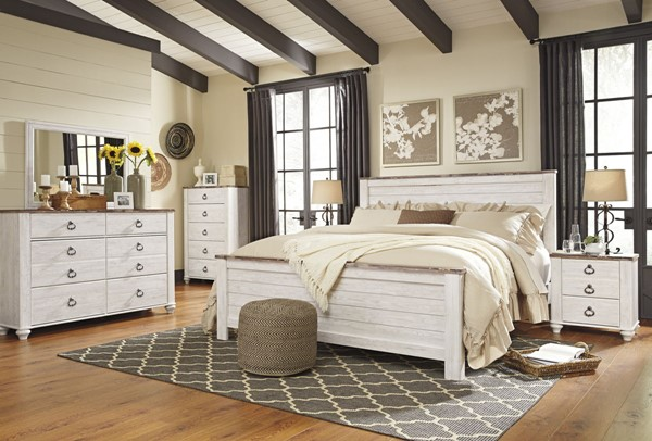 Willowton Casual Whitewash Two Tone Wood Glass Master Bedroom Set B267-BR
