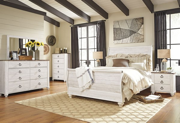 Willowton Whitewash Wood Glass 2pc Bedroom Set W/Queen Sleigh Bed B267-BR-S1