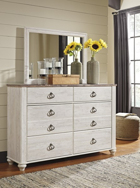 Willowton Casual Whitewash Two Tone Wood Glass Dresser And Mirror B267-DRMR
