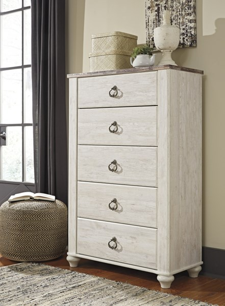 Willowton Casual Whitewash Wood Five Drawer Chest B267-46