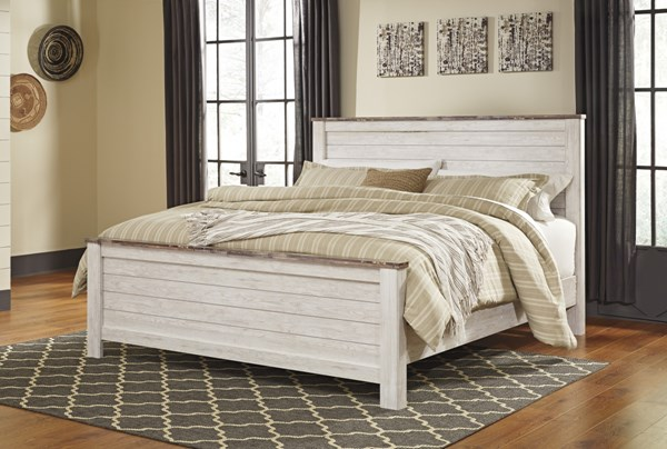 Willowton Casual Whitewash Wood King Panel Bed B267-KPNLBED