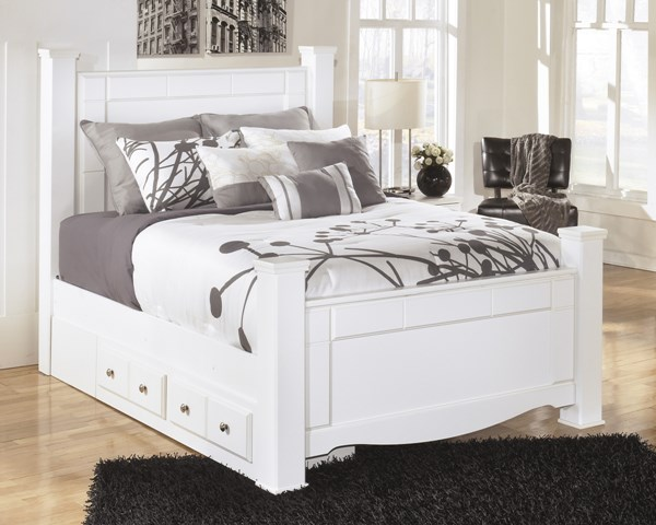 Weeki Contemporary White Wood Queen Poster Storage Bed B270-QBS