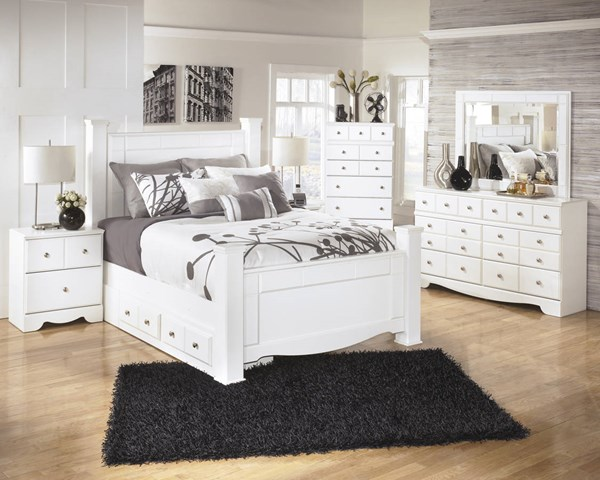 Weeki White Wood Glass 2pc Bedroom Set W/Queen Poster Storage Bed B270-S5