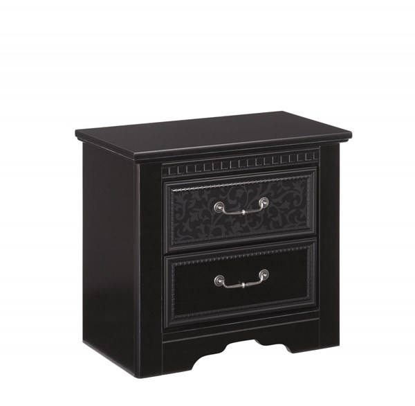 Cavallino Traditional Black Wood Night Stand W/2 Drawer B291-92
