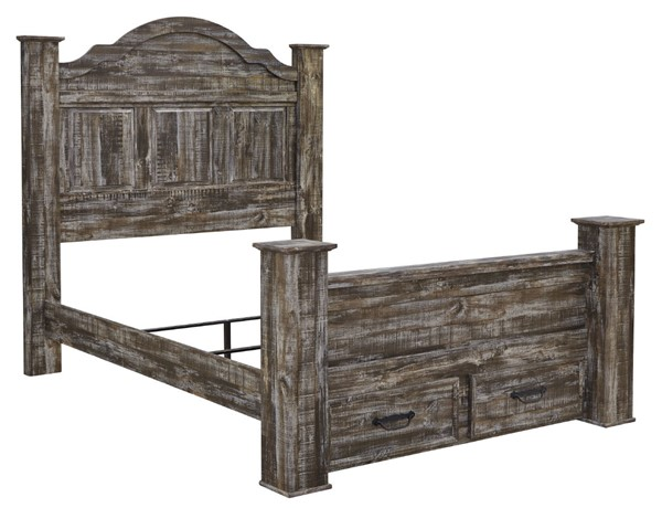 Ashley Furniture Lynnton Rustic Brown Poster Footboard Storage Beds B297-POFSBEDS