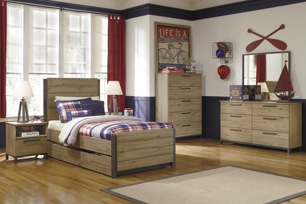Dexifield Contemporary Beige Wood 4pc Bedroom Set w/Twin Trundle Bed B298-BR-S4