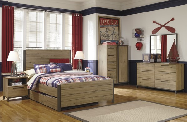 Dexifield Contemporary Beige Wood 4pc Bedroom Set w/Full Trundle Bed B298-BR-S5