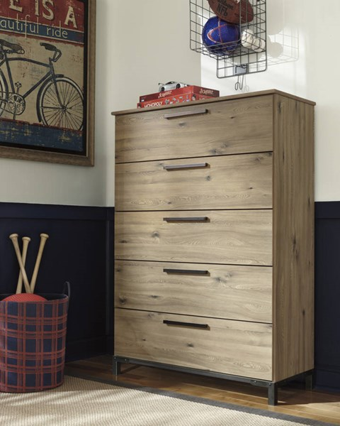 Dexifield Contemporary Beige Brown Wood Five Drawer Chest B298-46