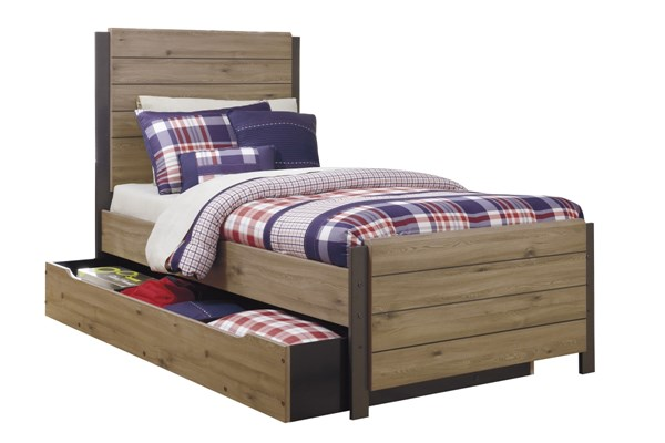 Dexifield Contemporary Beige Brown Wood Twin Bed w/Trundle Storage B298-T-TRU-BED