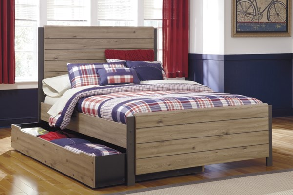 Dexifield Contemporary Beige Brown Wood Full Bed w/Trundle Storage B298-F-TRU-BED