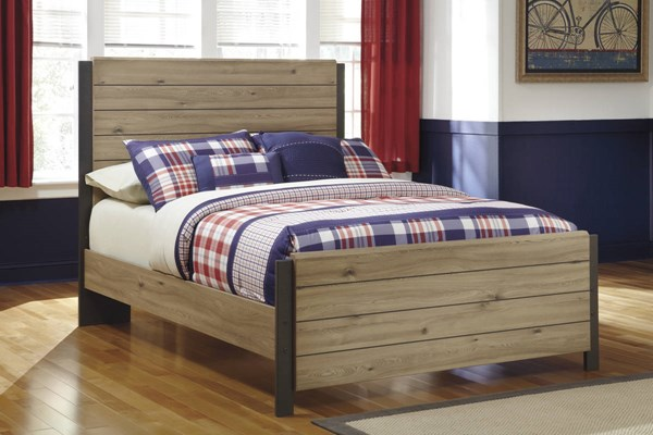 Dexifield Contemporary Beige Brown Wood Full Panel Bed B298-F-BED