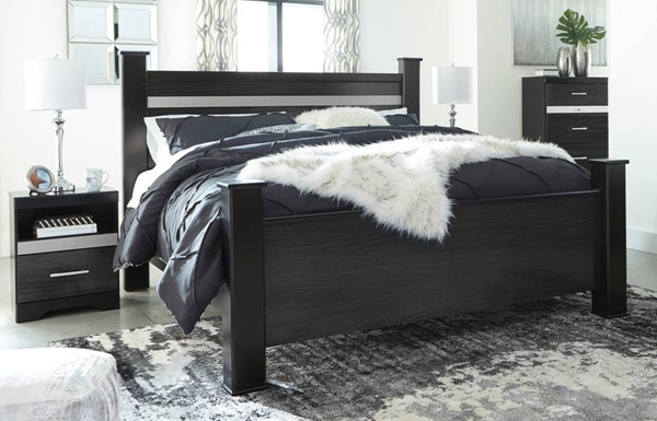 Ashley Furniture Starberry Black 2pc Bedroom Sets With Poster Bed B304-BR-S-VAR1